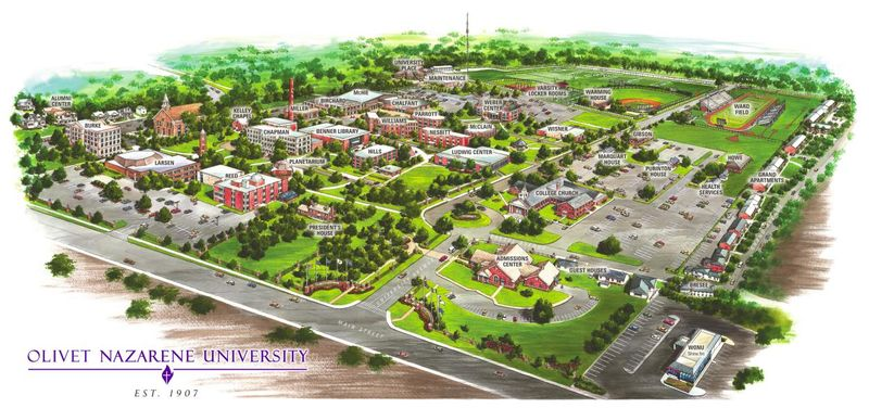 Campus plan (color), Olivet Nazarene University-large